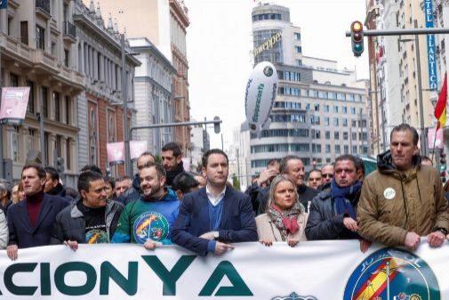 La última manifestación de Jusapol, con políticos de Vox, Cs y PP.