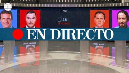 Debate TVE, en directo: Rivera y Casado acorralan a Sánchez por sus pactos con los separatistas