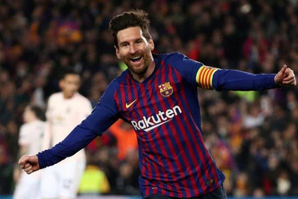 Messi celebra un gol esta temporada.