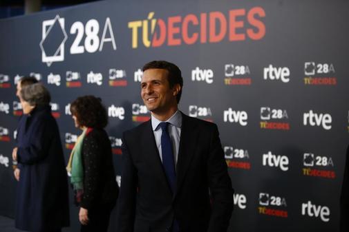 Pablo Casado, a su llegada al debate de TVE
