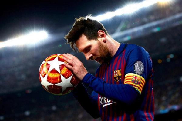 Leo Messi, durante el partido de cuartos de la Champions ante el United.