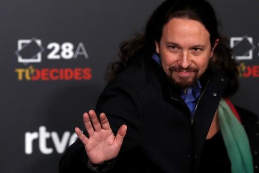 Pablo Iglesias, a su llegada al debate de TVE