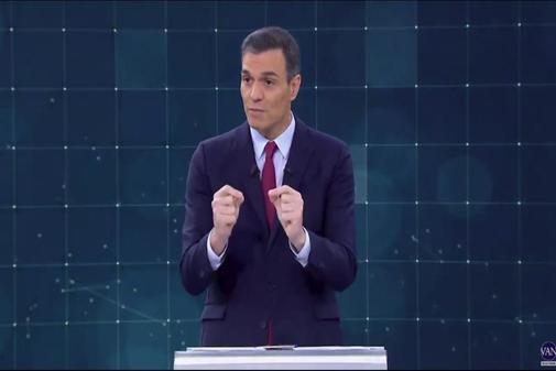 Pedro Sánchez, durante una de sus intervenciones en el debate de TVE