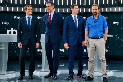 Los cuatro candidatos antes del comienzo del debate de TVE