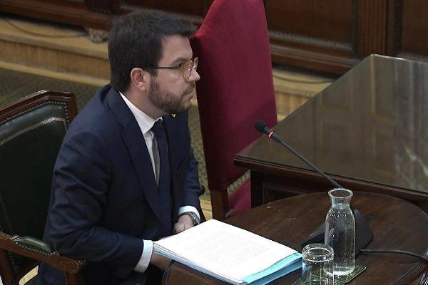 El vicepresidente del Govern, Pere Aragonès, este martes en el Tribunal Supremo.