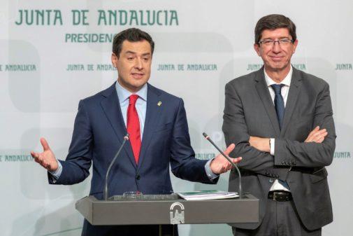 Juanma Moreno y Juan Marín, tras el Consejo de Gobierno.