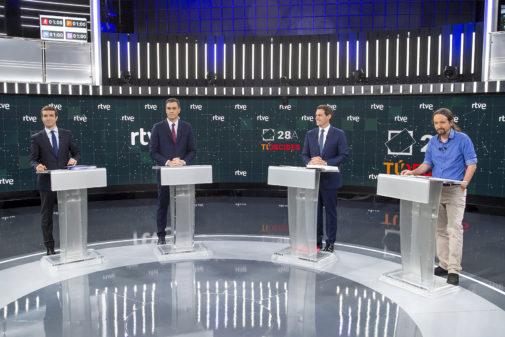 Pablo Casado, Pedro Sánchez, Albert Rivera y Pablo Iglesias durante el primer debate a cuatro en RTVE este lunes.
