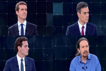 Pablo Casado, Pedro Sánchez, Albert Rivera y Pablo Iglesias, ayer, durante el debate en TVE.