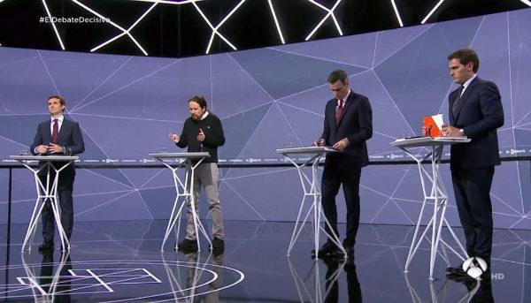 Pablo Casado, Albert Rivera, Pedro Sánchez  y Pablo Iglesias, en el segundo debate.