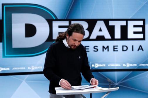 Pablo Iglesias, antes del comienzo en el debate de Atresmedia