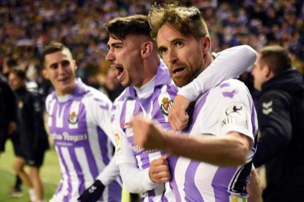 Míchel celebra el gol de la victoria del Valladolid.