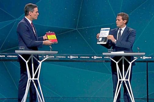 Enfrentamiento entre Pedro Sánchez y Albert Rivera durante el debate de Atresmedia