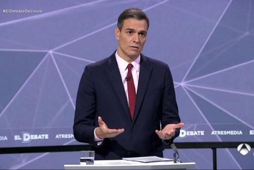 Pedro Sánchez, durante el debate de Atresmedia