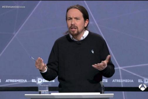 Pablo Iglesias, durante el debate electoral de Atresmedia