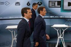 23/04/2019.Foto Javier Barbancho.Madrid Comunidad de Madrid. <HIT>Debate</HIT> a 4 en A3 Pablo Casado,Pedro Sanchez,Alvert Ribera y Pablo Iglesias