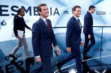 Main candidates for Spanish general election hold their second televised <HIT>debate</HIT> in Madrid