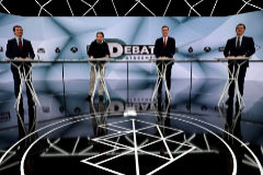 (L-R) Spanish conservative Popular Party (PP) leader Pablo Casado, far-left Podemos party leader Pablo Iglesias, Prime Minister and PSOE candidate Pedro Sanchez and centre-right Ciudadanos (Citizens) leader Albert Rivera wait for the start of a televised <HIT>debate</HIT> in Madrid on April 23, 2019 ahead of this weekend's general election. (Photo by JAVIER SORIANO / AFP)