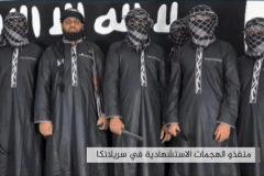Los ocho miembros del comando que atentó en Sri Lanka.