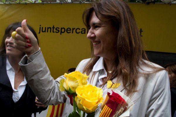 Laura Borràs durante la Diada de Sant Jordi
