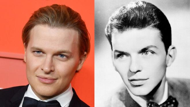 Ronan Farrow (izq) en la gala de la revista TIME 100 y Frank Sinatra (dcha) en 1943, a la edad de 28 años