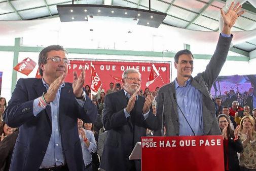 Pedro Sánchez, en un acto de campaña en Badajoz