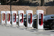 FILE PHOTO: A <HIT>Tesla</HIT> electric car supercharger station is seen in Los Angeles