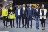 Los seis candidatos antes del debate moderado por el director de TV3, Vicent Sanchis.
