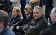 Carlos Fabra junto a Vicent Farnós y Marisa Ribes en el mitin de Isabel Bonig, este miércoles en Castellón.