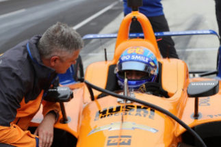 Fernando Alonso, durante la sesión de tests.