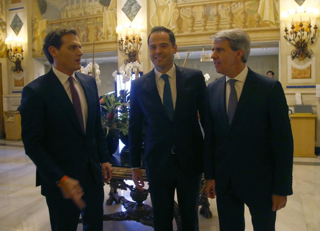 Albert Rivera, Ignacio Aguado y Ángel Garrido, este jueves en Madrid.
