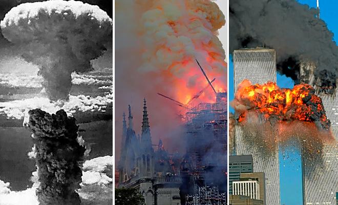El incendio en la catedral de París, entre el hongo atómico de Nagasaki y el ataque a las Torres Gemelas.
