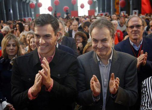 Pedro Sánchez y José Luis Rodríguez Zapatero en la clausura de la Escuela de Buen Gobierno el 18 de marzo de 2018