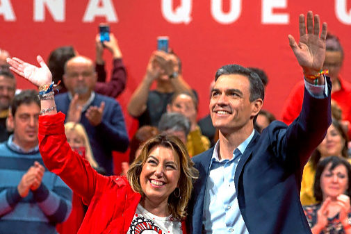 Pedro Sánchez y Susana Díaz, en un acto del PSOE en Jaén