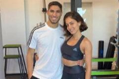 Hiba Abouk entrena con su novio