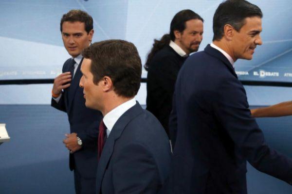 Casado, Sánchez, Ribera e Iglesias, tras el debate del miércoles.