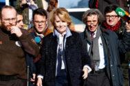 Esperanza Aguirre sale de la Audiencia Provincial de Madrid, en febrero.