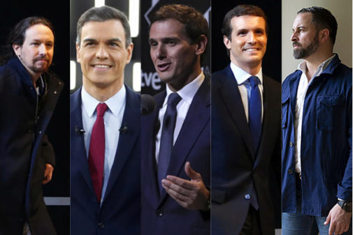 De izqda. a dcha., Pablo Iglesias, Pedro Sánchez, Albert Rivera,...