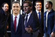 De izqda. a dcha., Pablo Iglesias, Pedro Sánchez, Albert Rivera, Pablo Casado y Santiago Abascal.
