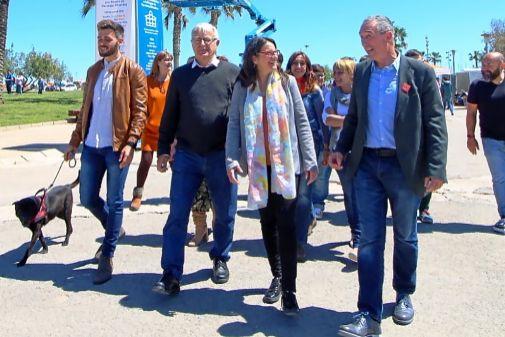 Fran Ferri, Joan Ribó, Mónica Oltra y Joan Baldoví, ayer en La Marina.