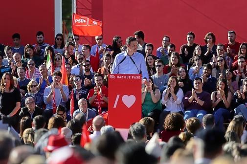 Pedro Sánchez, en un acto de campaña en Madrid