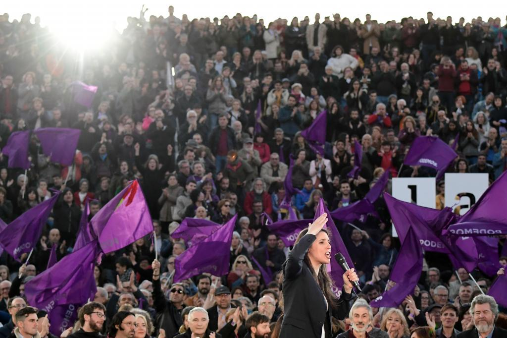"""""""Unidas Podemos"""" coalitions candidate Irene <HIT>Montero</HIT> delivers a speech during their last campaign rally in Madrid on April 26, 2019 ahead of the April 28 general election. - Spain closes today a tense legislative elections campaign with repeated calls by the head of the socialist government Pedro Sanchez to avoid the far-right rise that has shaken up the political outlook of the country. (Photo by JAVIER SORIANO / AFP)"""