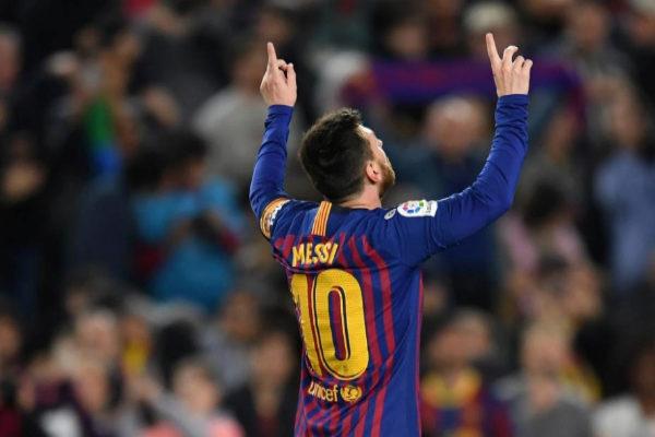 Leo Messi celebra su decisivo gol ante el Levante.