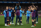 <HIT>BARCELONA</HIT>, SPAIN - APRIL 27: <HIT>Barcelona</HIT> players applaud their fans as they win the La Liga after the La Liga match between FC <HIT>Barcelona</HIT> and Levante UD at Camp Nou on April 27, 2019 in <HIT>Barcelona</HIT>, Spain. (Photo by David Ramos/Getty Images)