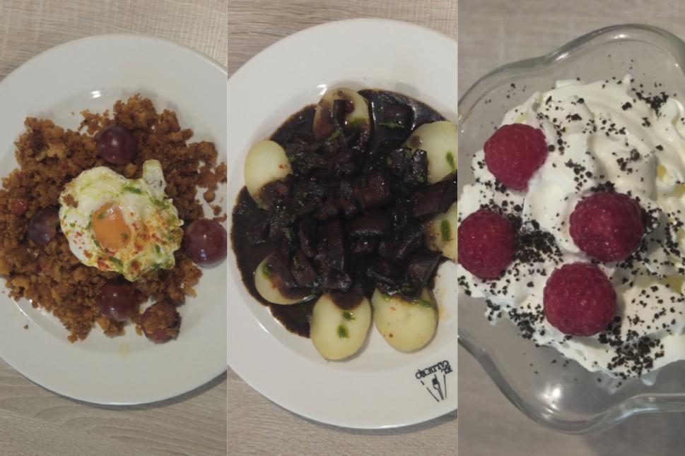 Migas con huevo, sepia a la cartagenera y bonofee con frutos rojos.