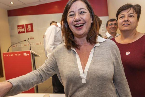 Francina Armengol en la sede tras conocer los resultados.