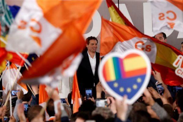 Albert Rivera celebra los resultados del 28-A en la sede del partido.