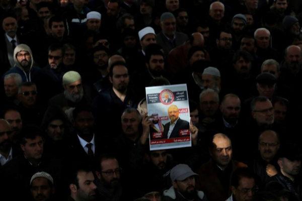 Funeral simbólico por el periodista saudí Jamal Khashoggi en Estambul, en noviembre.