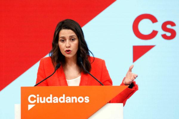 Inés Arrimadas, en rueda de prensa en la sede de Ciudadanos.