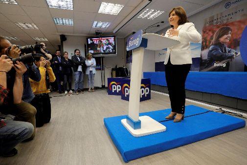 Isabel Bonig, durante su discurso tras conocer los resultados.