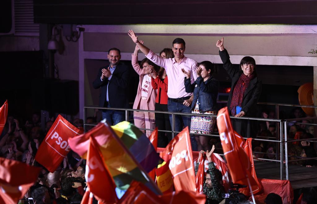 Pedro Sánchez celebra la victoria del PSOE en la noche de las elecciones generales del 28-M